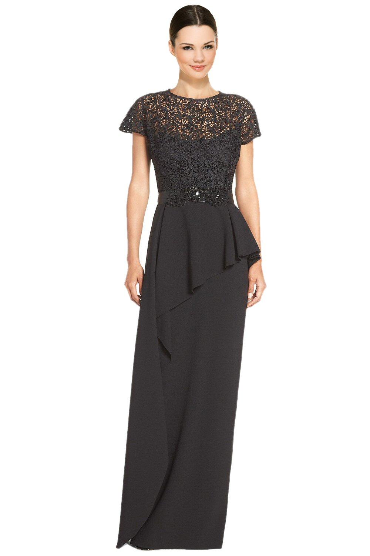 Teri Jon Black Embellished Lace Bodice Peplum Evening Gown Dress 2 ...