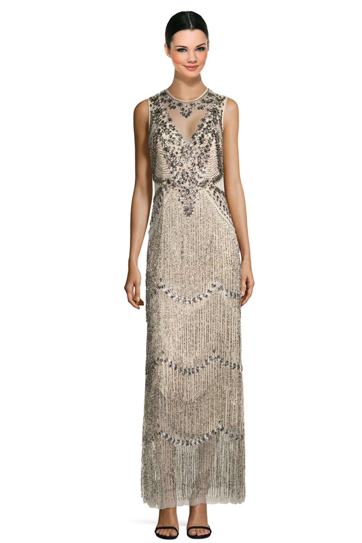 Aidan Mattox Champagne Sleeveless Beaded Fringe Evening Gown Dress 2 ...