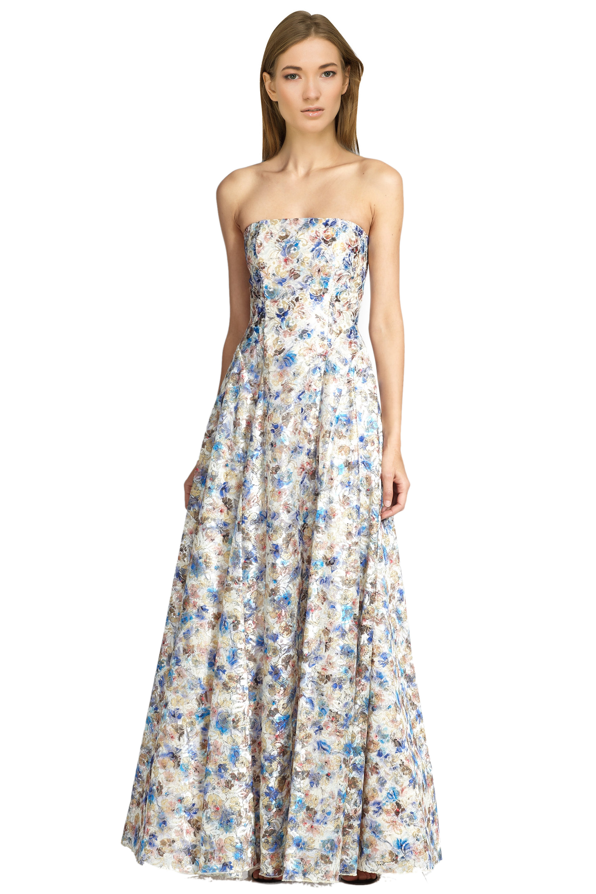 Alice & Olivia Dreema Strapless Floral Embroidered Lace Eve Ball ...