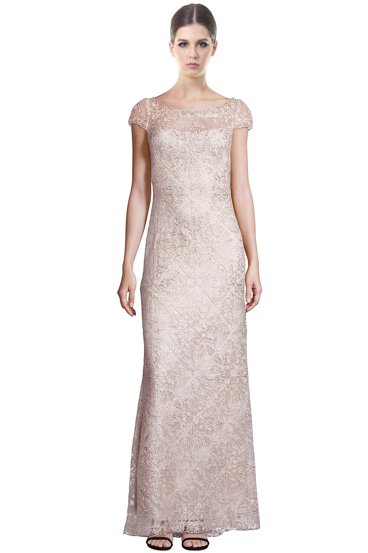 Tadashi Shoji Ivory Corded Lace Embellished Cap Sleeve Evening Gown ...