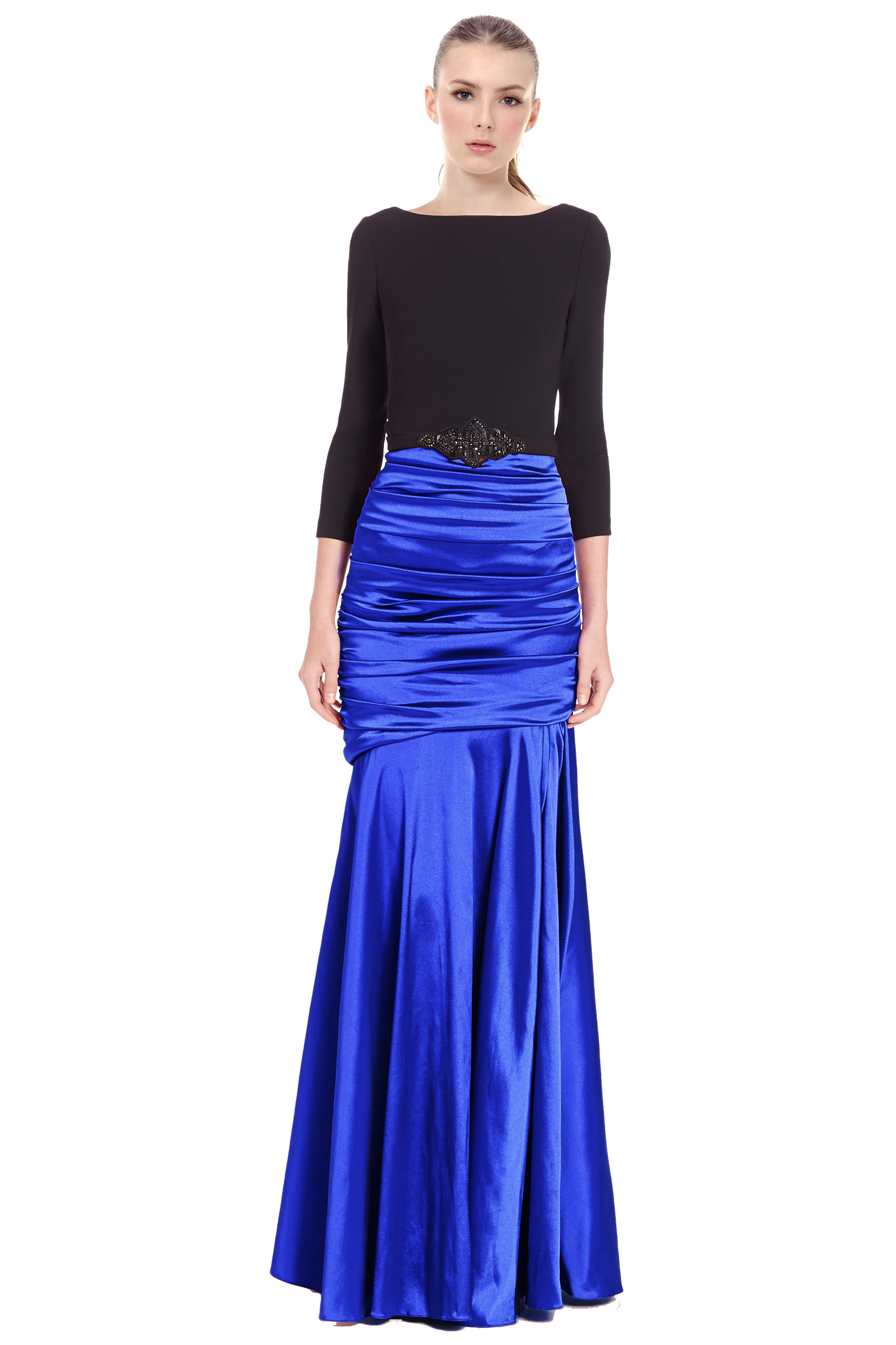 Theia Blue Ruched Embellished Waist 3/4 Sleeve Evening Gown Dress 6 ...