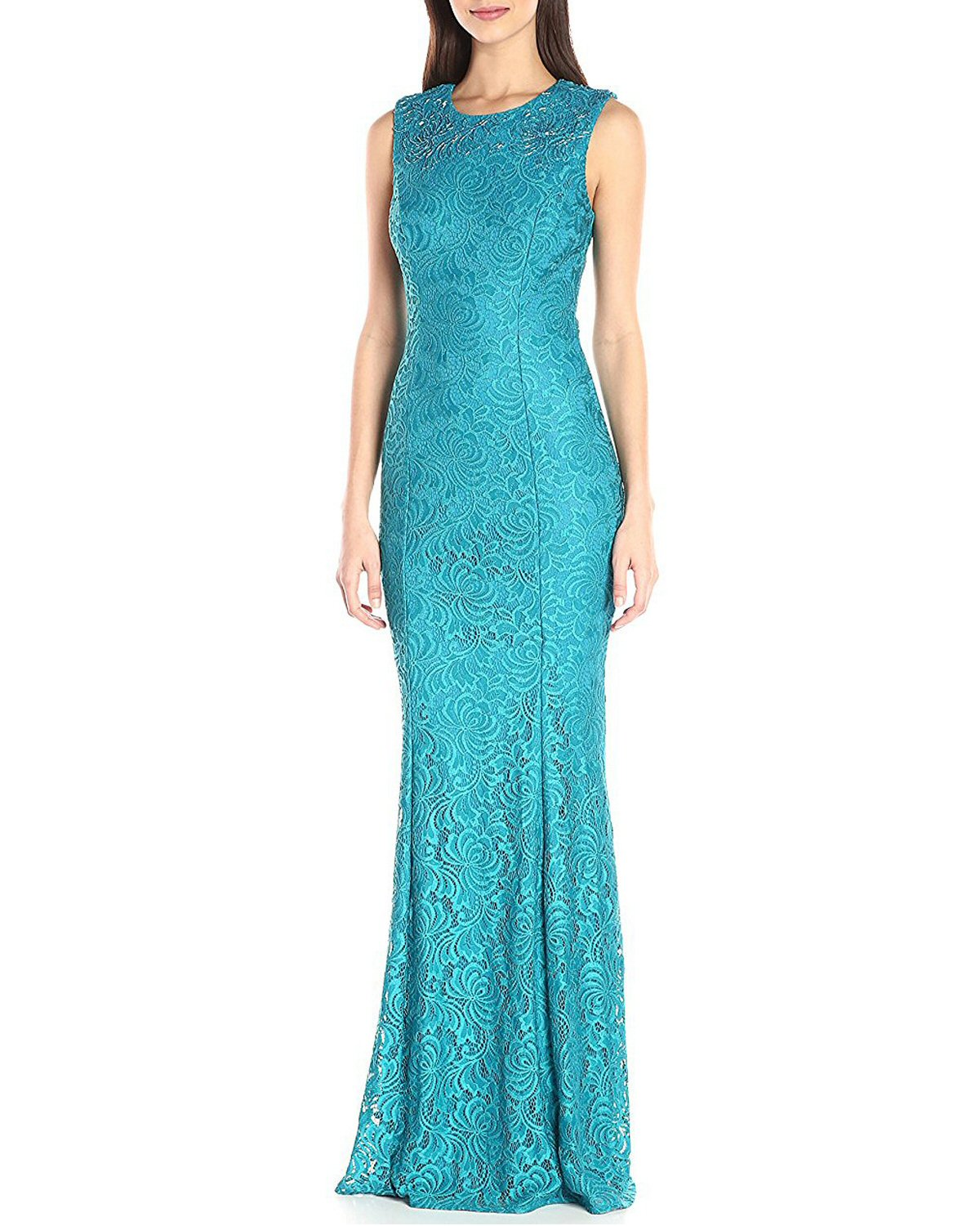 Carmen Marc Valvo Infusion Turquoise Embellished Lace Evening Gown ...