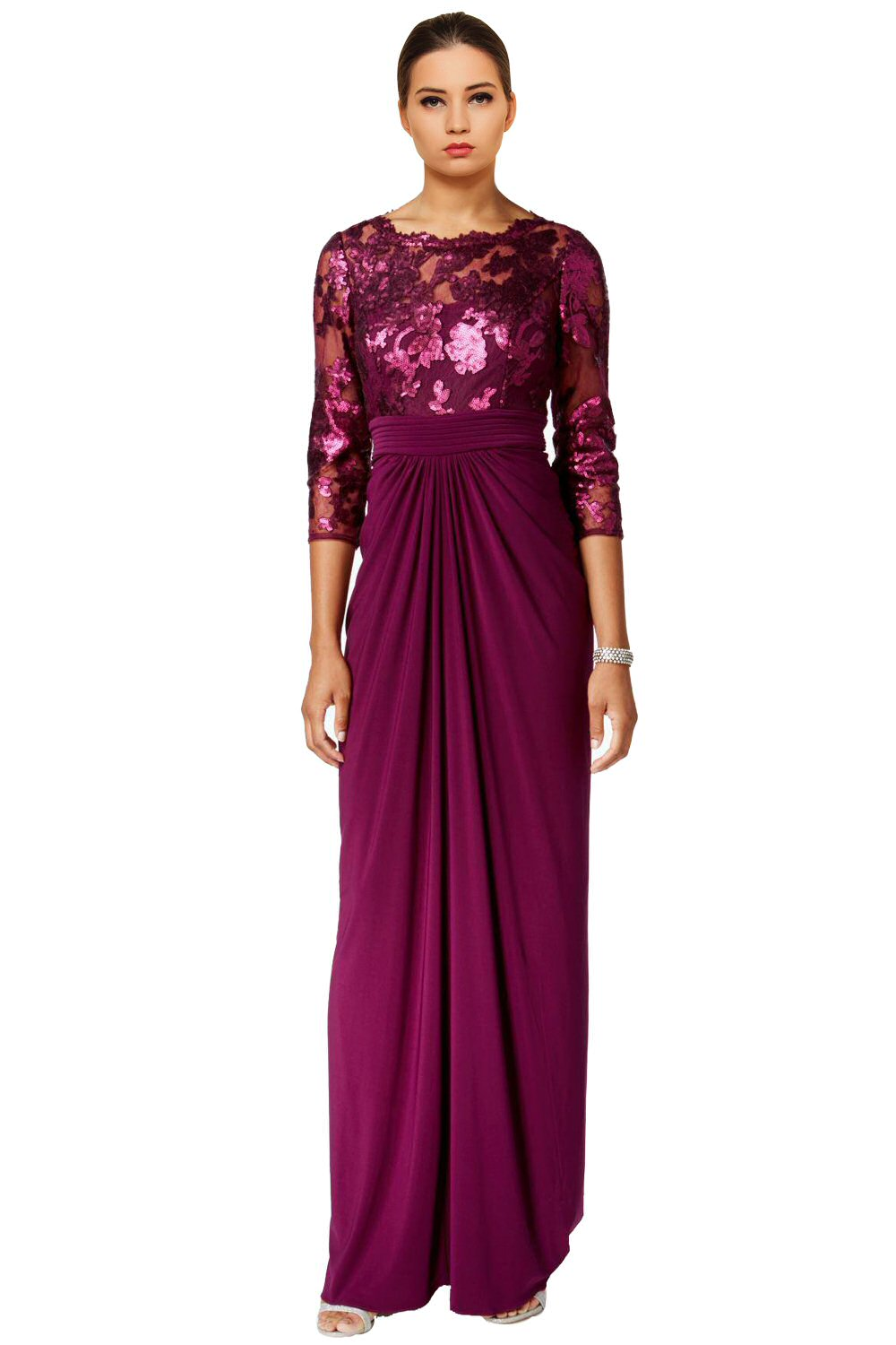Adrianna Papell Mulberry Purple Sequin 3/4 Sleeve Illusion Evening ...