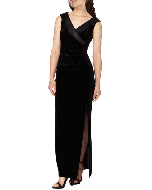 Tahari ASL Black Velvet Satin Collar Surplice Evening Gown Dress 6 ...