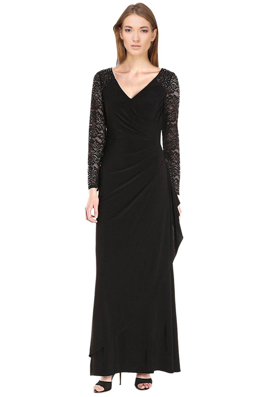 Alex Evenings Black Lace Faux Wrap Long Sleeve Evening Gown Dress 10 ...