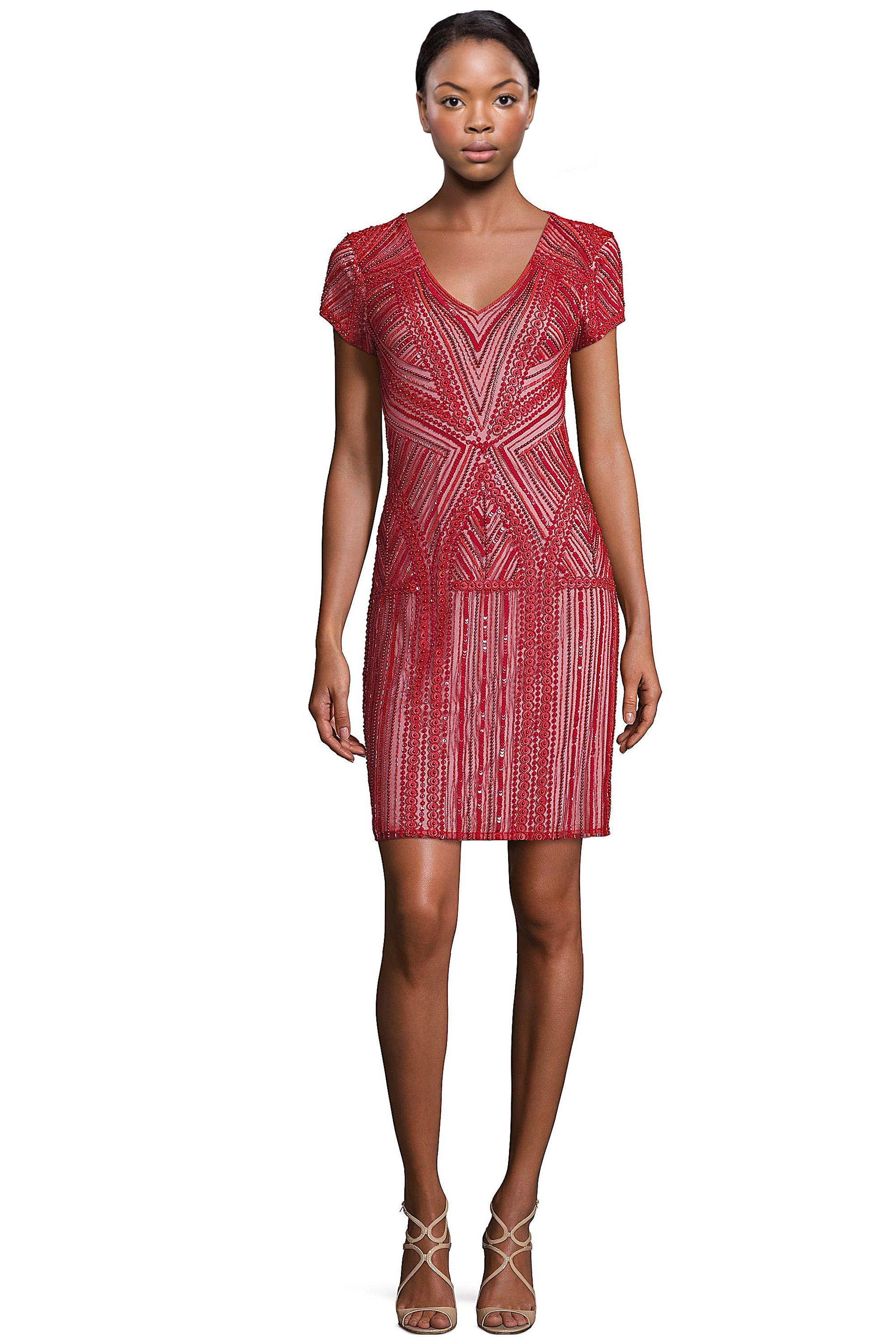 Parker Black Serena Red Embellished Short Sleeve Cocktail Dress 6 ...