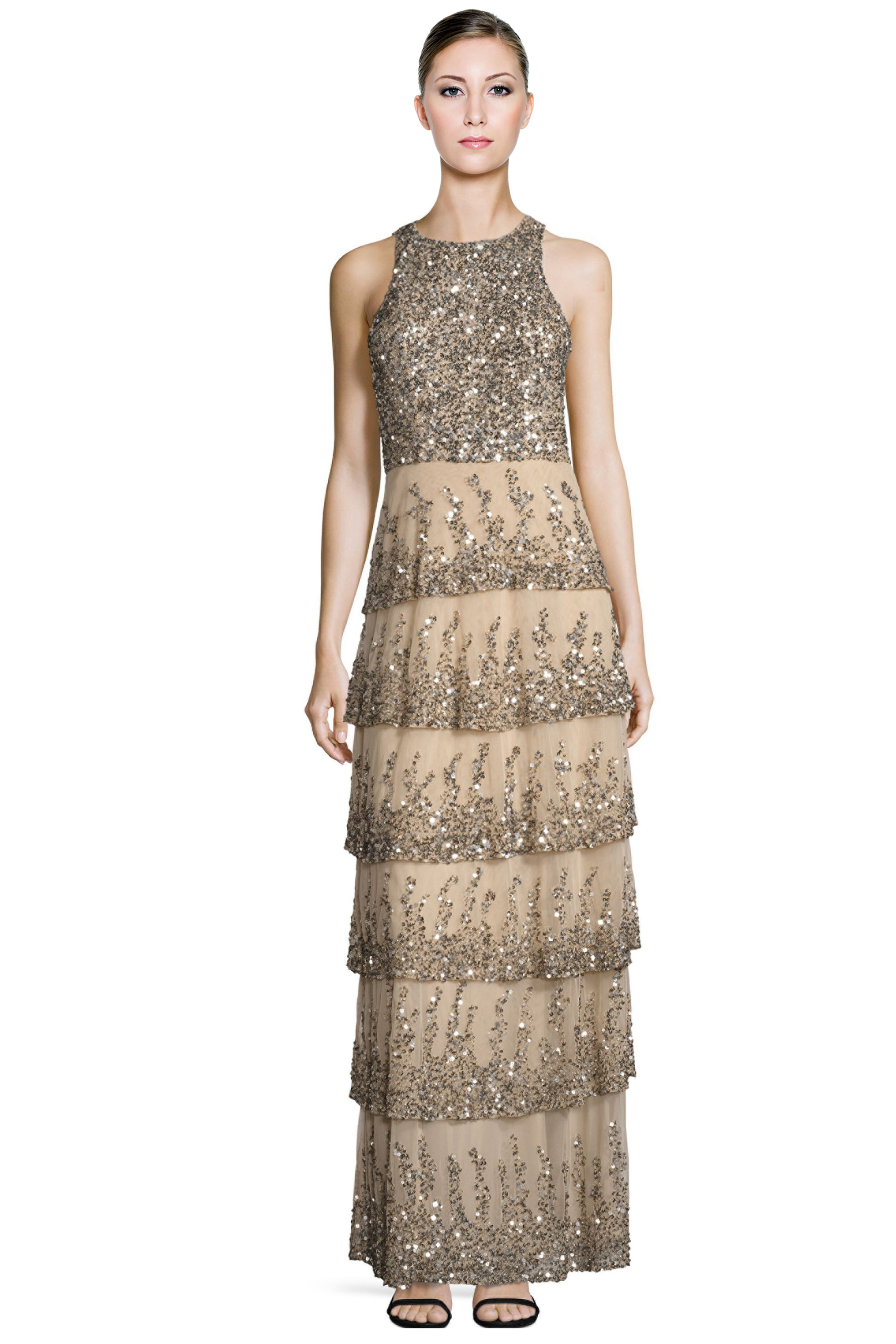 Parker Black Natalia Nude Sequined Tiered Sleeveless Evening Gown ...