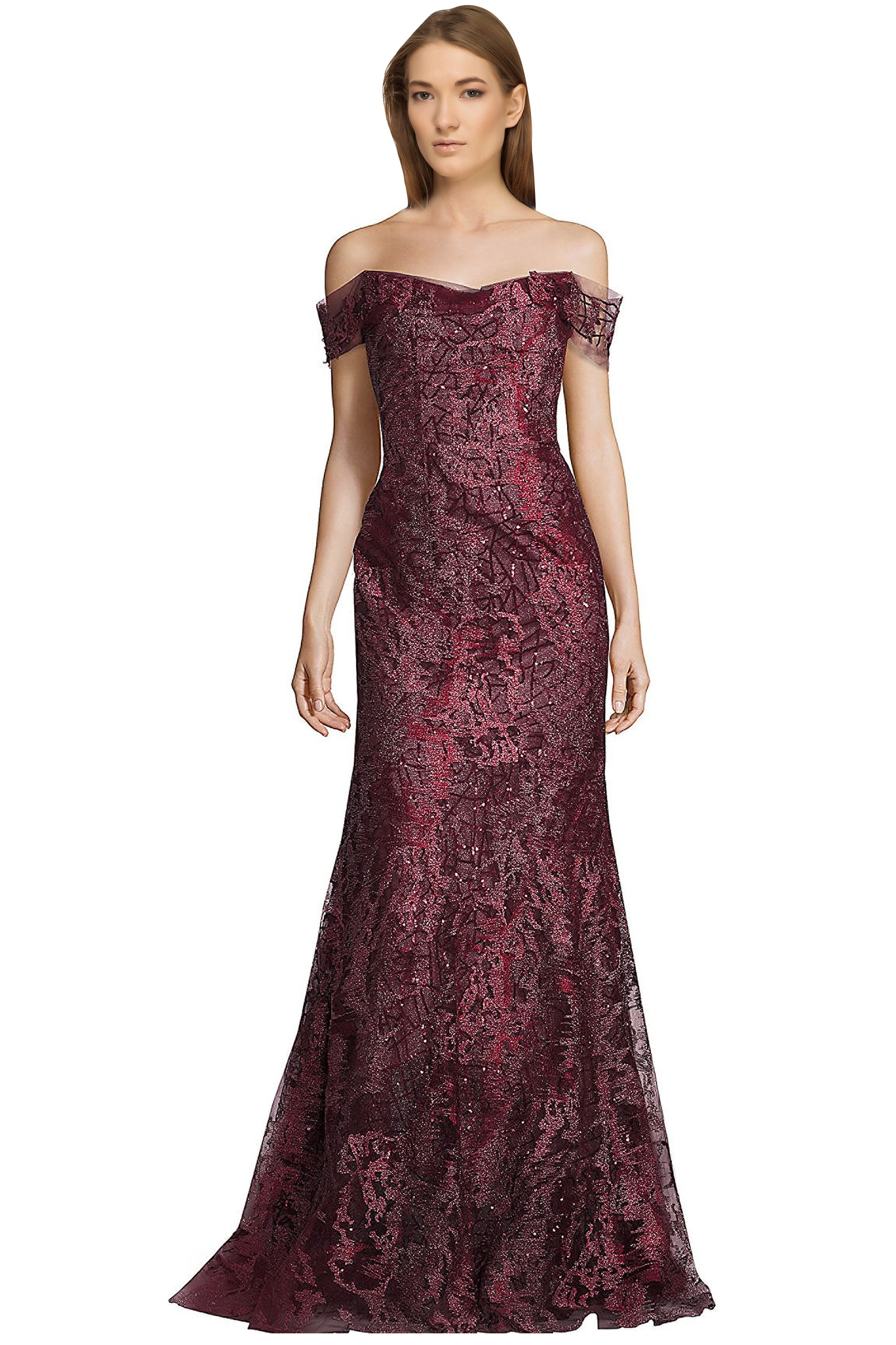 Rene Ruiz Claret Red Embellished Off Shoulder Evening Ball Gown ...
