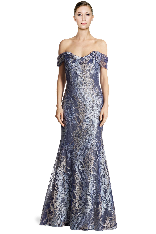Rene Ruiz Blue Embellished Tulle Off Shoulder Mermaid Evening Gown ...