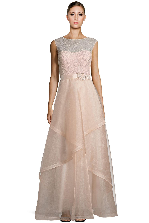 Teri Jon Blush Pink Bead Embellished Tulle Evening Ball Gown Dress ...