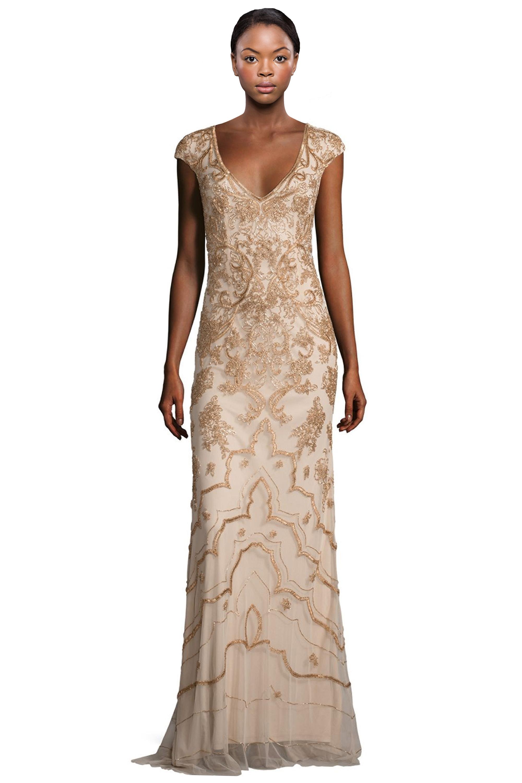 Theia Ochre Gold Beaded Cap Sleeve V-Neck Evening Gown Dress 12 ...