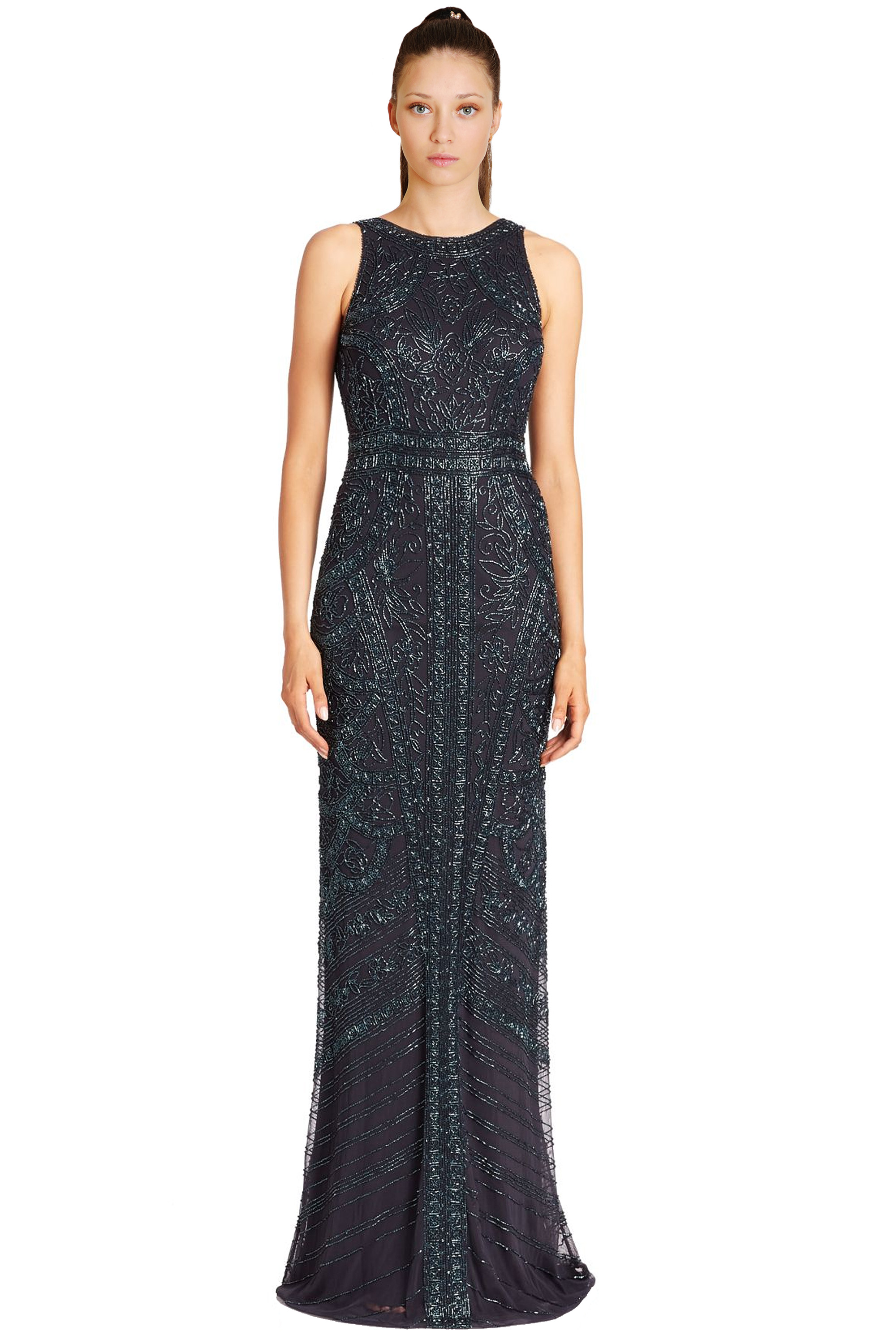 Theia Peacock Blue Floral Sequined Sleeveless Evening Gown Dress 12 ...