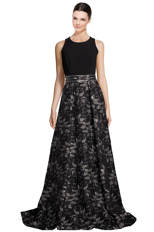 Carmen Marc Valvo Black Beaded Floral Jacquard Evening Gown Dress 8 ...
