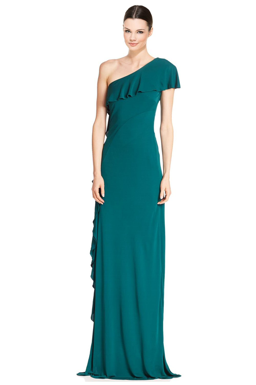 David Meister Jade Green Asymmetric Draped One Shoulder Evening Gown ...