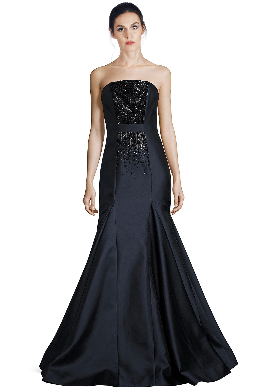 2383b83ab6d David Meister Navy Blue Strapless Beaded Mermaid Evening Gown Dress ...