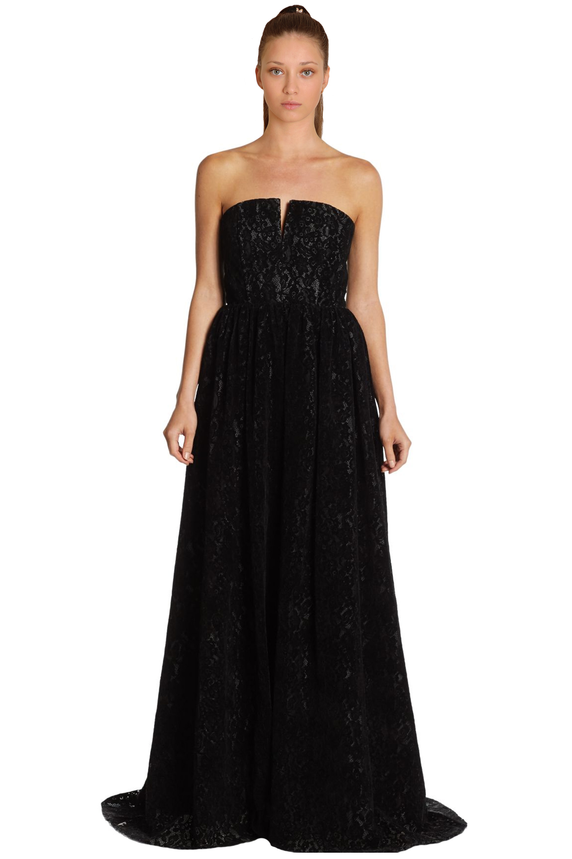 Alice & Olivia Axmis Black Flocked Lace Bustier Strapless Evening ...