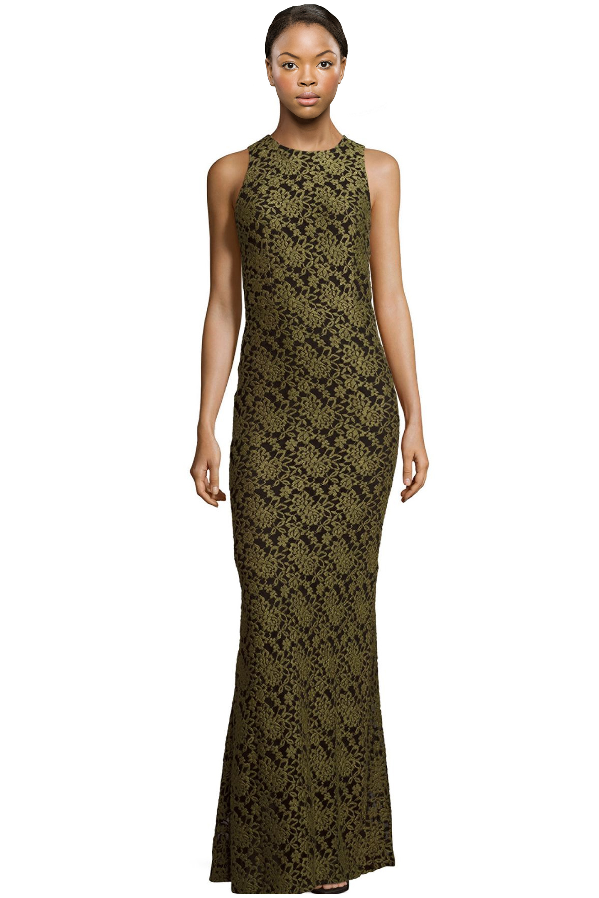 Alice & Olivia Roxie Olive Floral Embroidered Lace Maxi Evening Gown ...