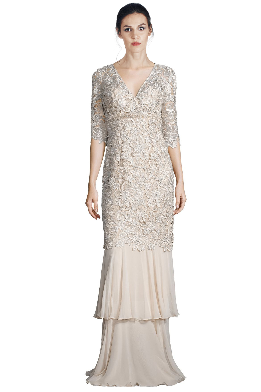 Teri Jon Champagne Floral Lace Tiered Mermaid Hem Evening Gown Dress ...