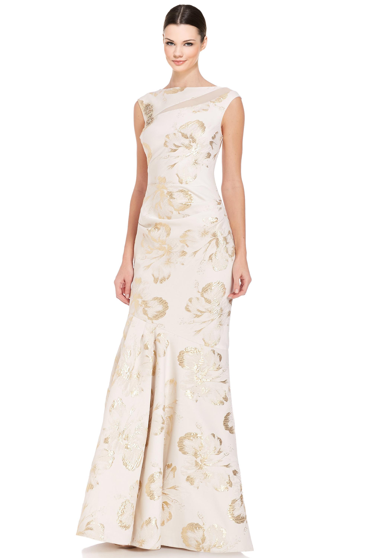 Teri Jon Ivory Beaded Shoulder Sleeveless Mermaid Evening Gown Dress ...