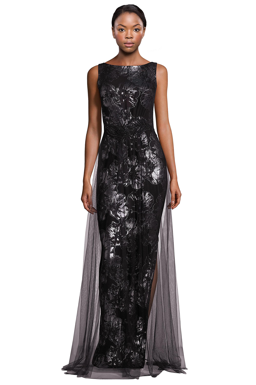 Theia Black Metallic Jacquard Tulle Overlay Sleeveless Evening Gown ...