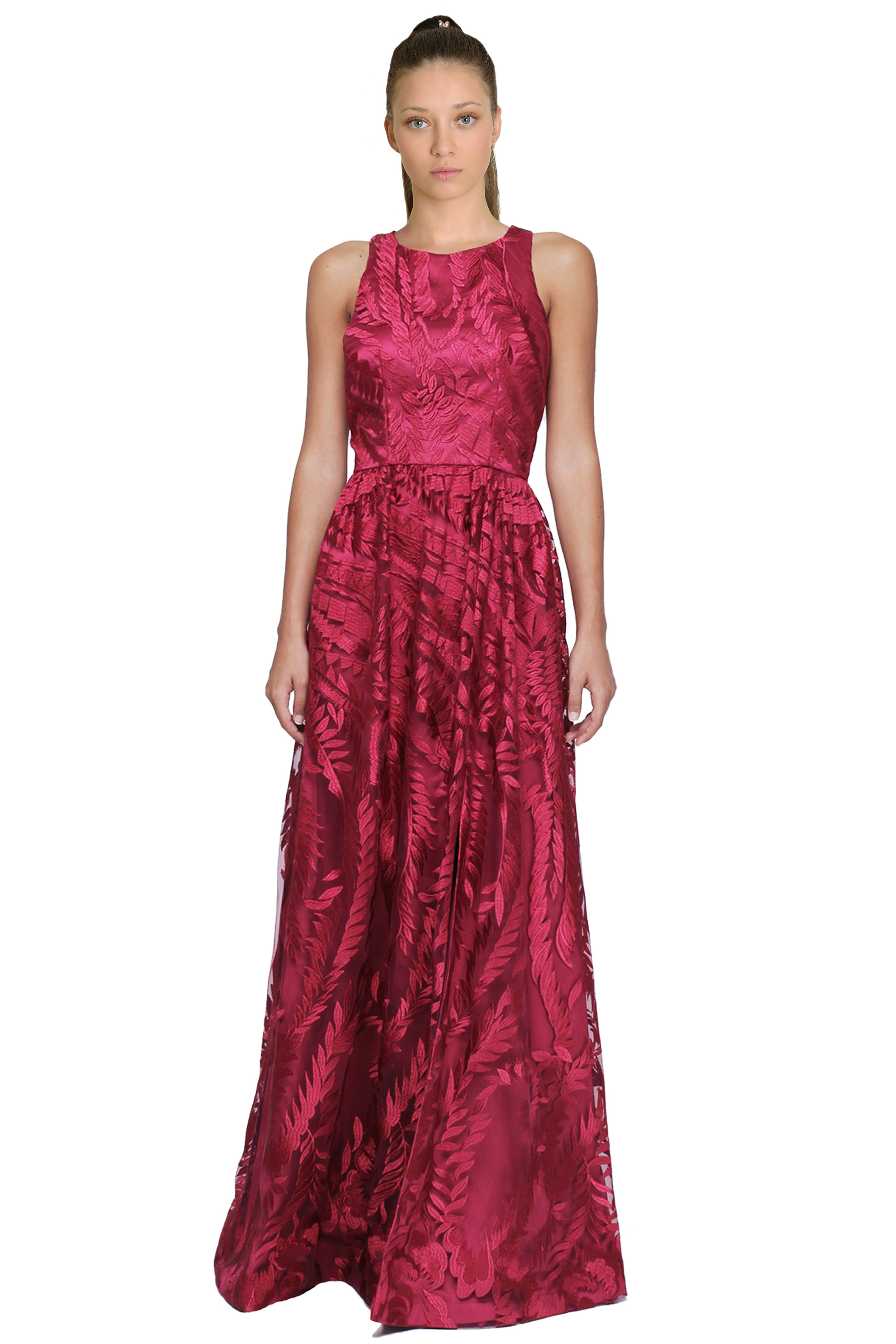 David Meister Rose Pink Embroidered Tulle Sleeveless Evening Gown ...