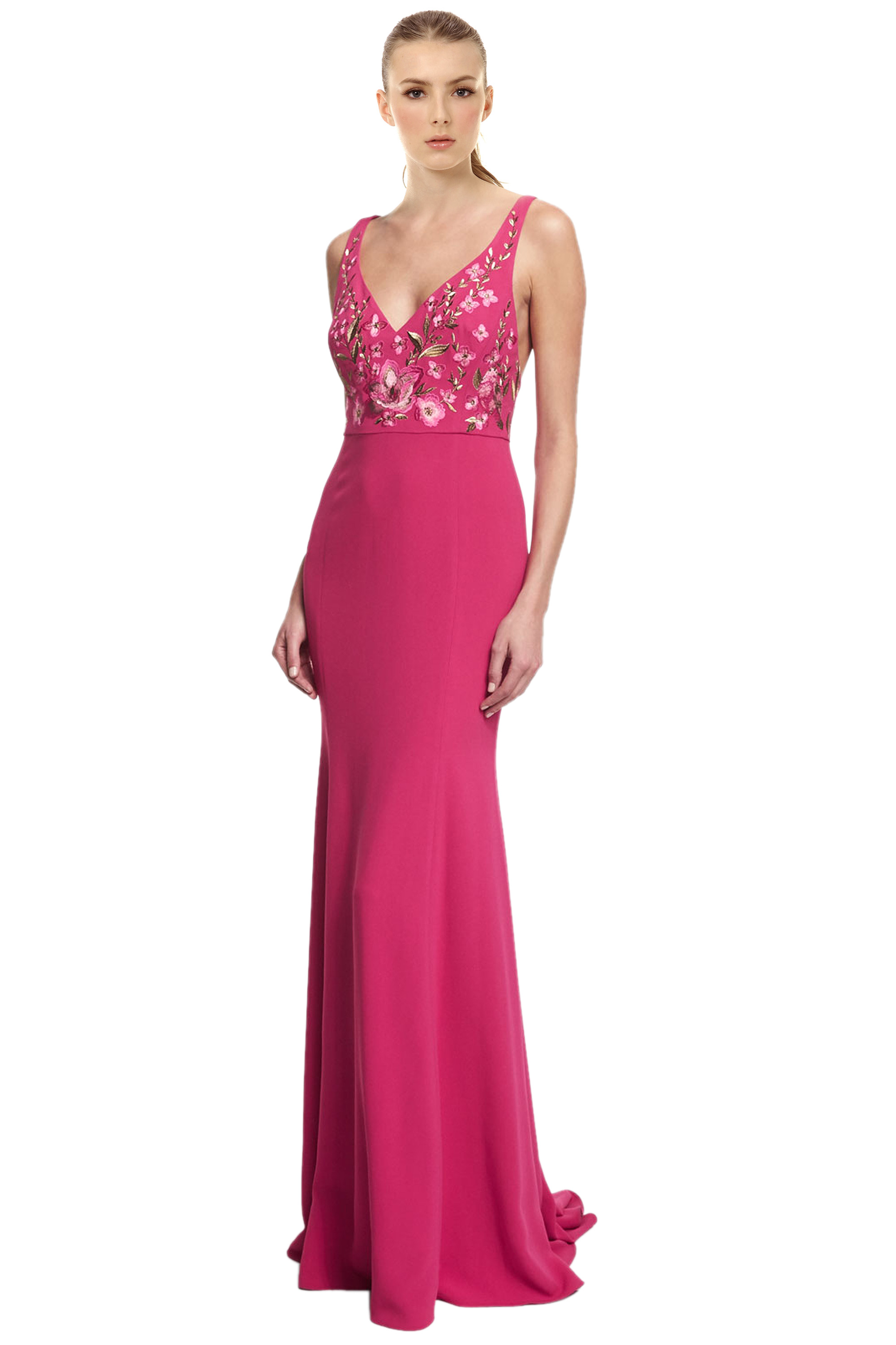 Marchesa Notte Fuchsia Pink Floral Embroidered Crepe Evening Gown ...