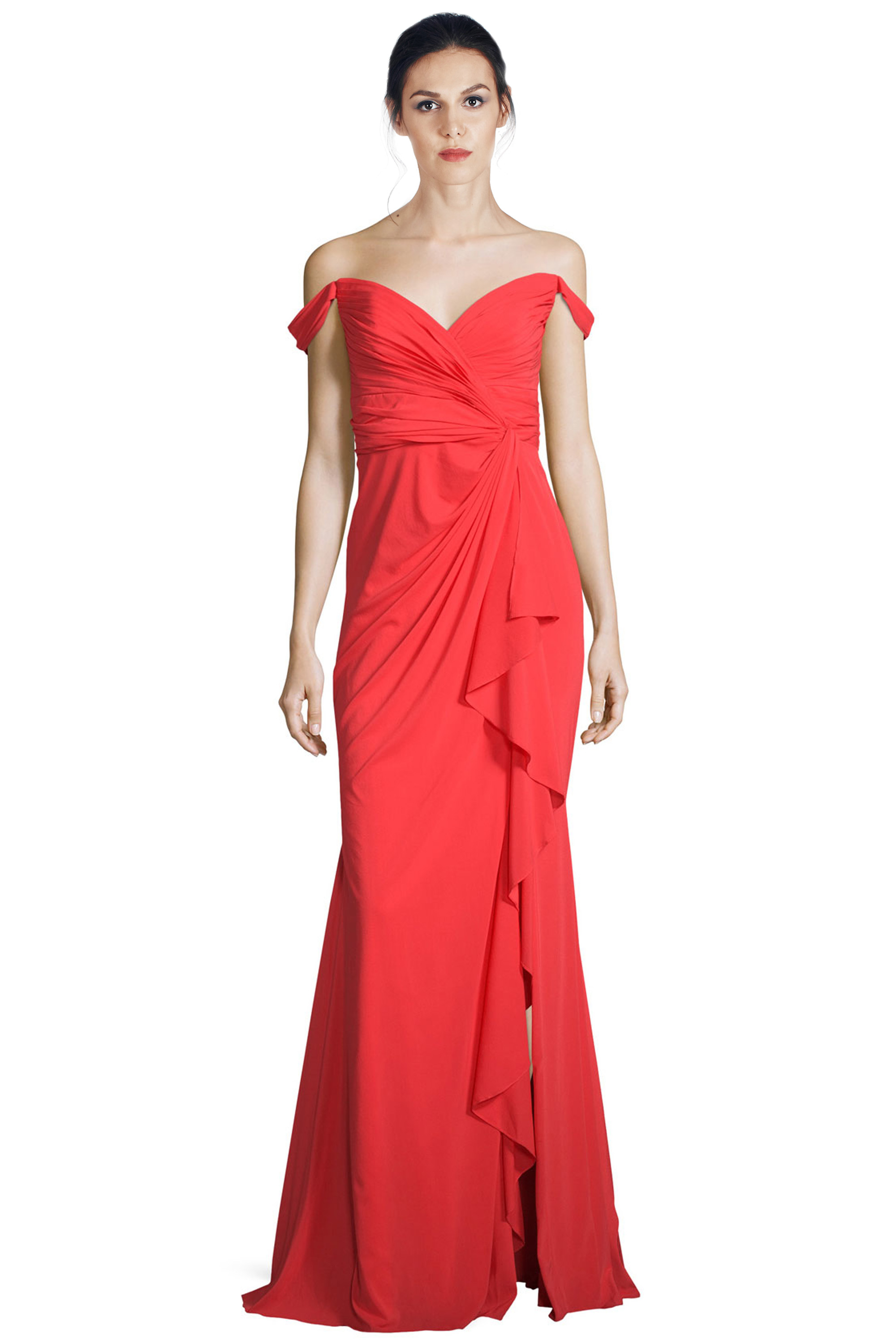 Badgley Mischka Red Off Shoulder Silk Ruffle Sweetheart Evening Gown ...