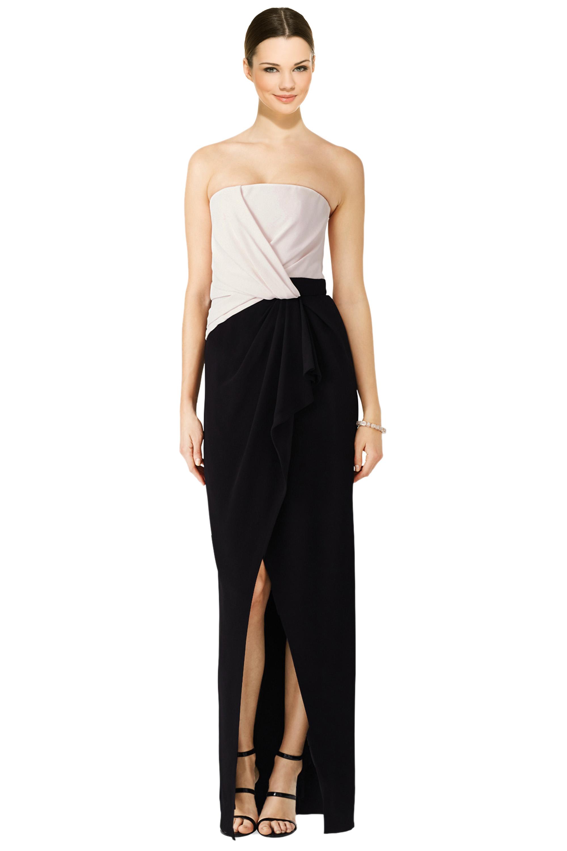 J. Mendel Black Draped Colorblocked Strapless Evening Gown Dress 8 ...
