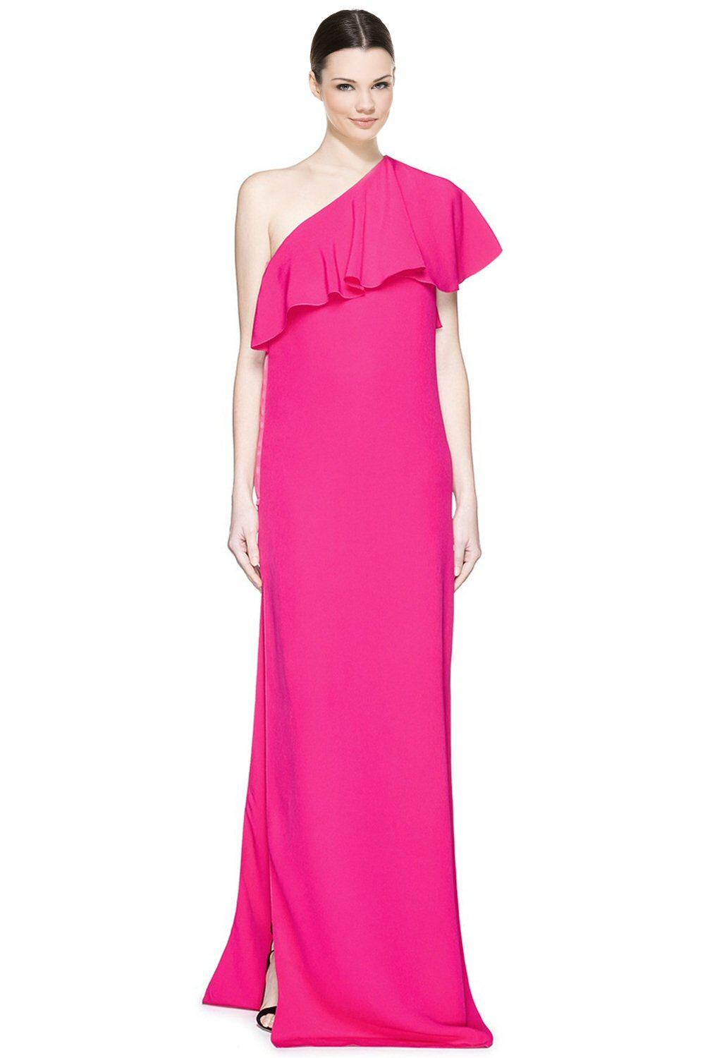 Lanvin Fuchsia Pink Ruffle One Shoulder Cady Evening Gown Dress 10 ...