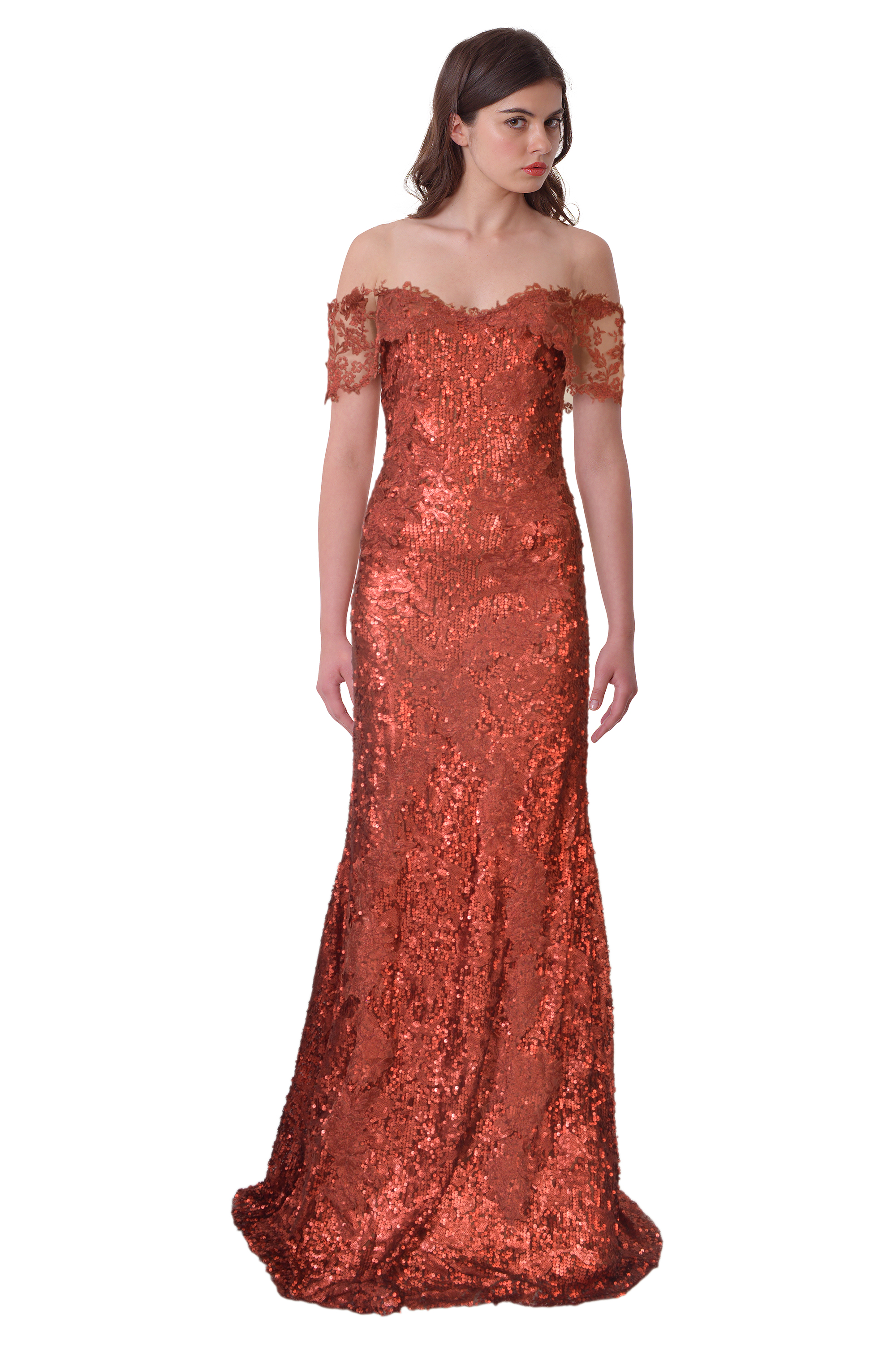 Rene Ruiz Red Off Shoulder Metallic Sequined Ball Evening Gown Dress ...