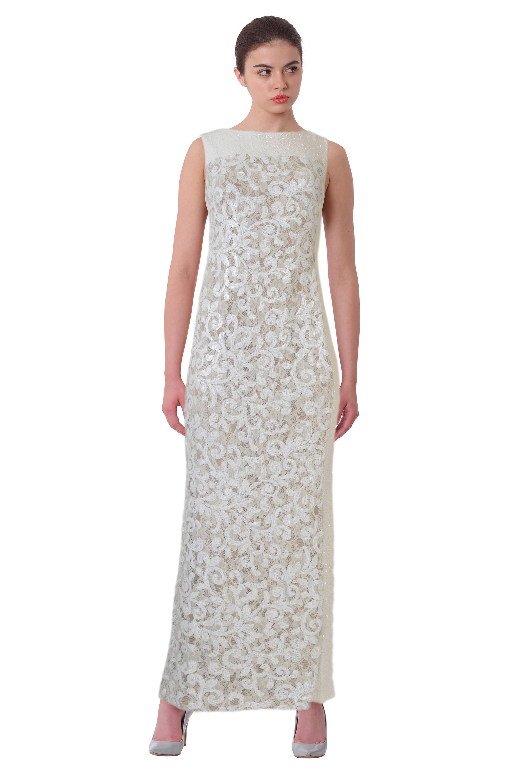 Lauren Ralph Lauren White Sequined Floral Lace Sleeveless Evening ...