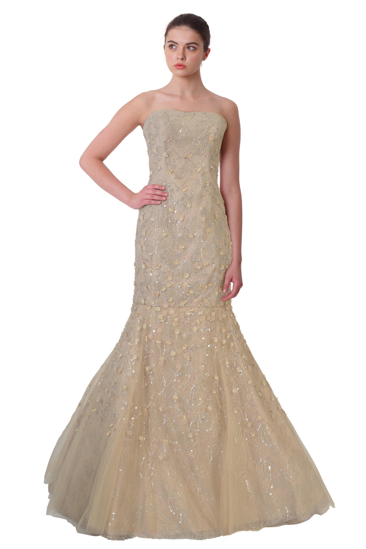 Carolina Herrera Champagne Embellished Strapless Lace Ball Evening ...