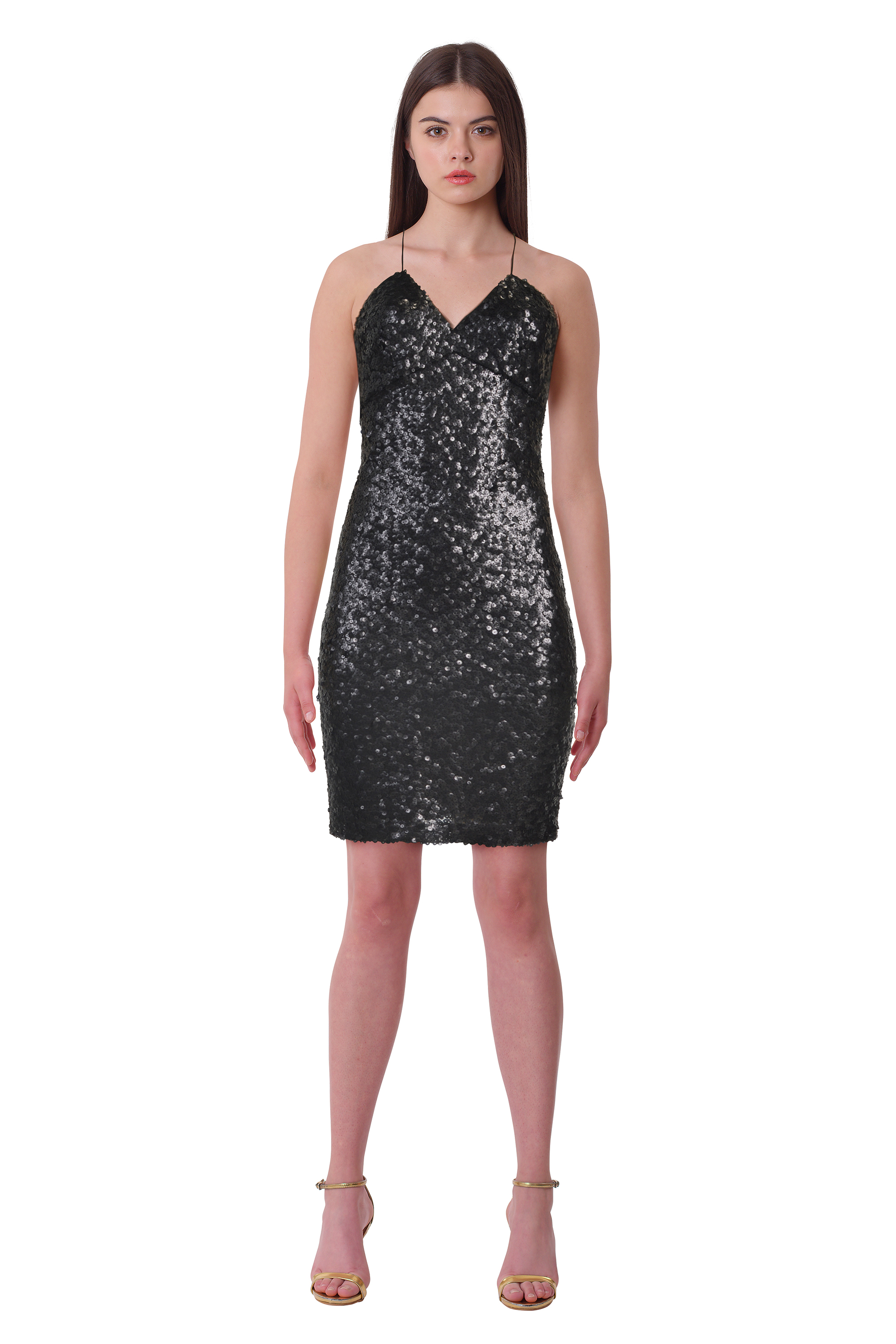 c8df3688a2b Lauren Ralph Lauren Black Allover Sequined V-Neck Sheath Cocktail ...