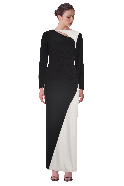 Lauren Ralph Lauren Black Colorblocked Long Sleeve Jersey Evening ...
