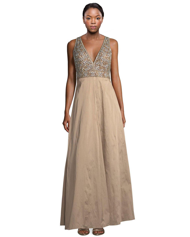 Aidan Mattox Bronze Beaded Bodice V-Neck A-Line Taffeta Evening Gown ...