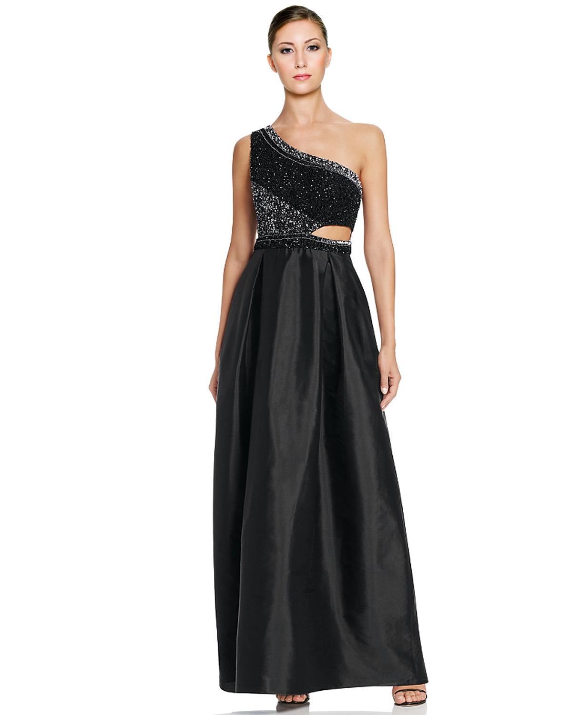 Aidan Mattox Black One Shoulder Beaded Cutout Taffeta Evening Gown ...
