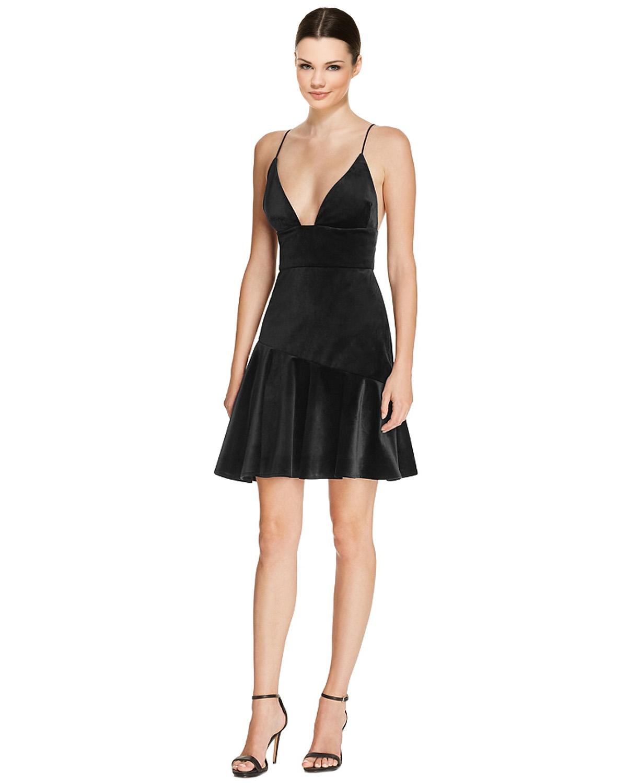 90be8db620 ABS by Allen Schwartz Black Velvet Spaghetti Strap Ruffle Hem Cocktail  Dress 6