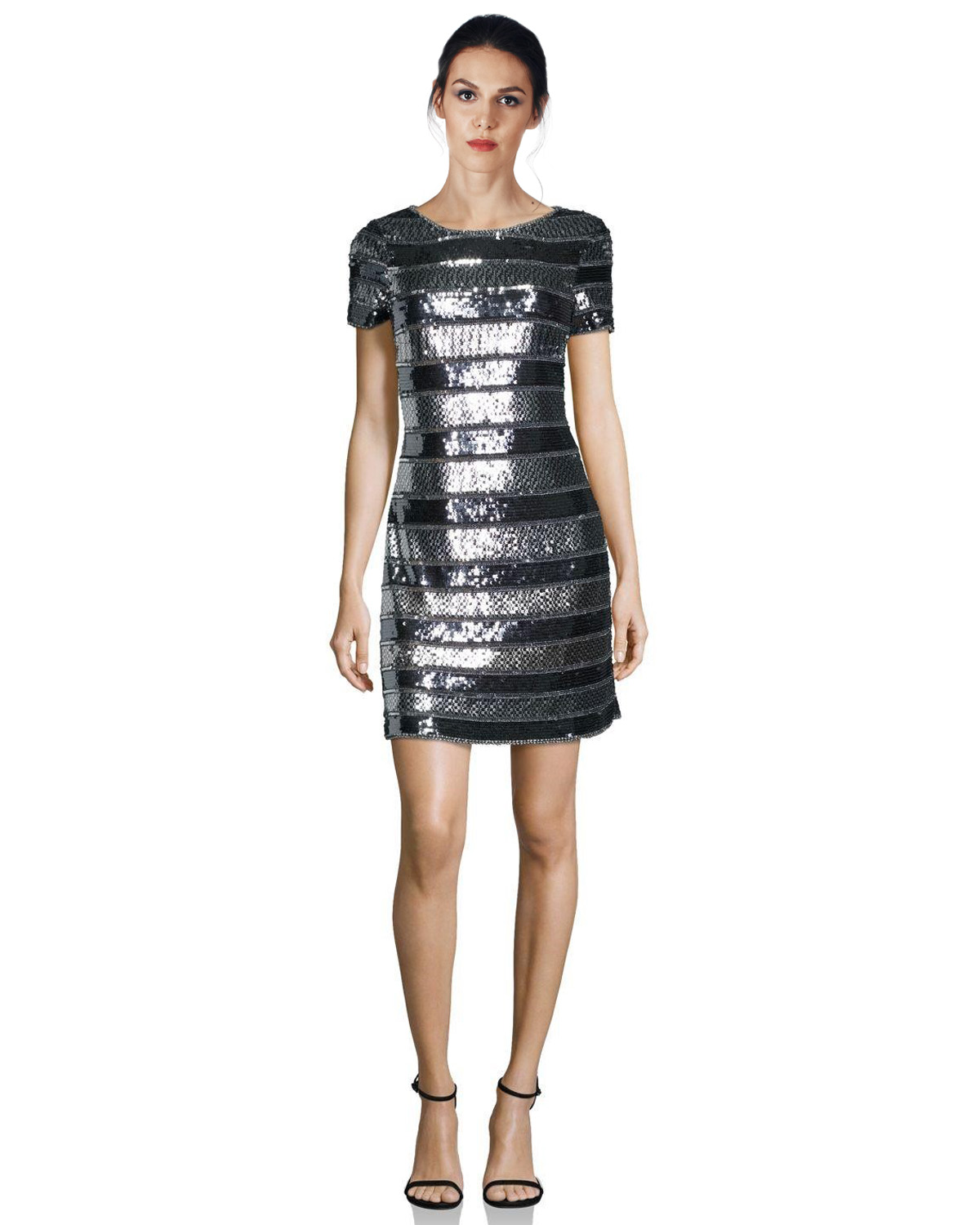 Aidan Mattox Gunmetal Sequin Embellished Striped Short Sleeve ...