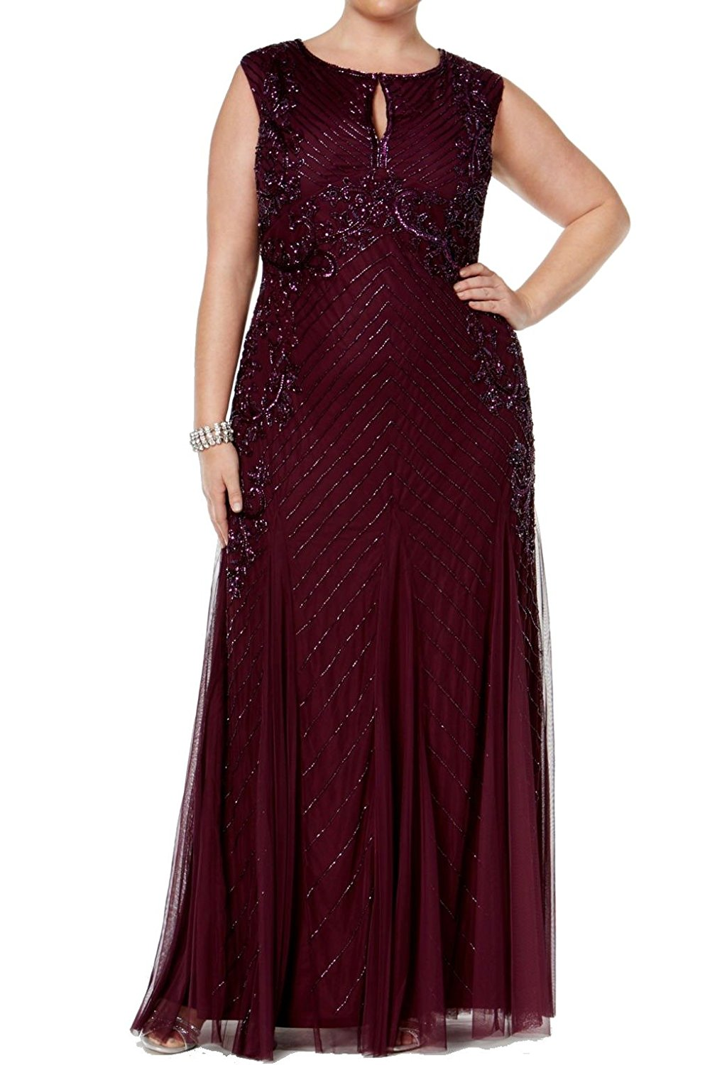 Adrianna Papell Plus Size Cassis Beaded Keyhole Evening Gown Dress ...