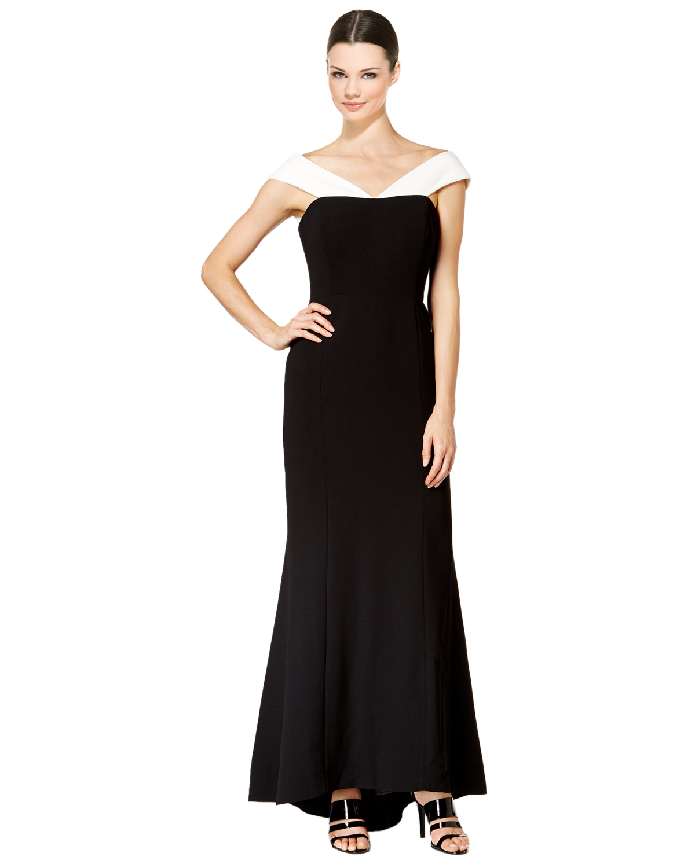 Calvin Klein Black Two-Tone Crepe Off Shoulder Evening Gown Dress 2 ...
