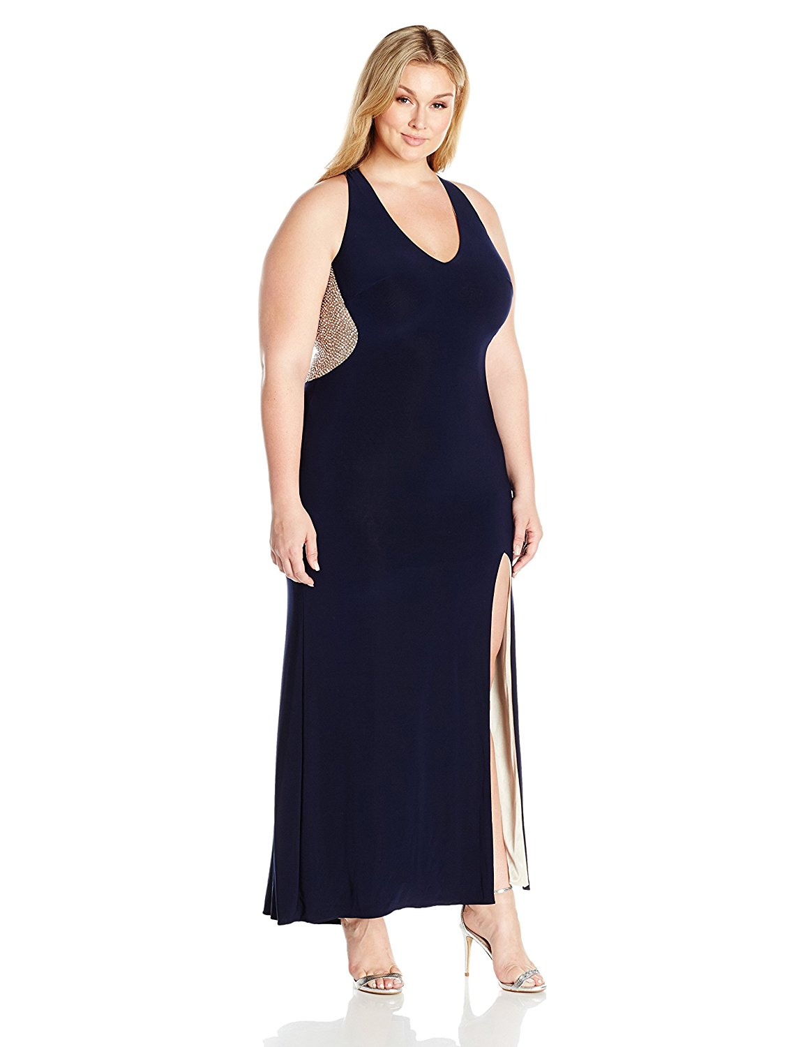 XSCAPE Plus Size Navy Illusion Beaded Back Evening Gown Dress 18W ...