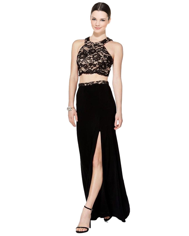 XSCAPE Black 2pc Lace Cropped Halter Evening Gown Dress 0 ...
