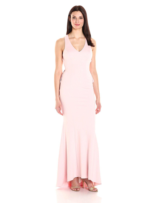 XSCAPE Blush Pink Open Back Ruffle Evening Gown Dress 10 ...