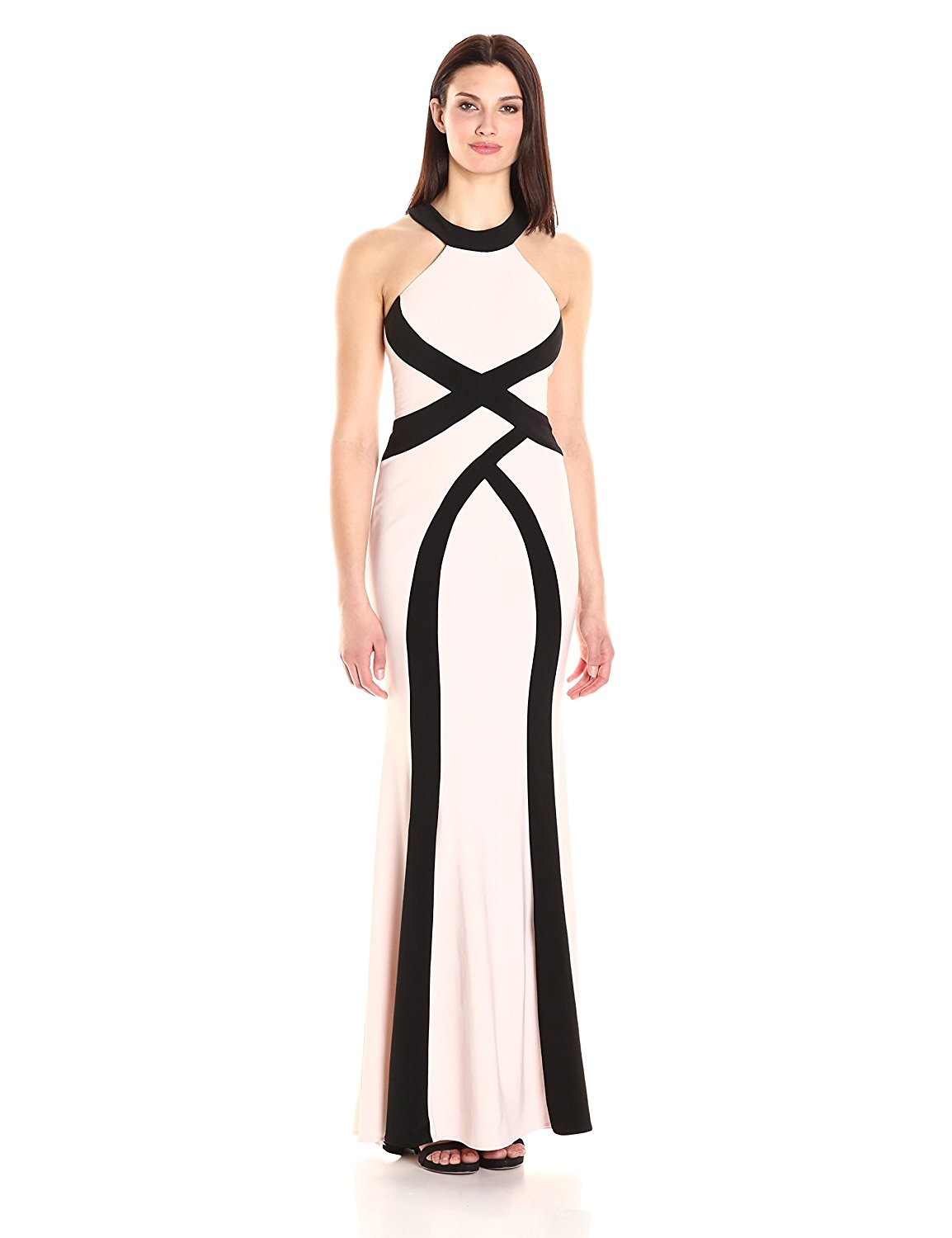 XSCAPE Blush Pink Two Tone Open Back Halter Evening Gown Dress 8 ...