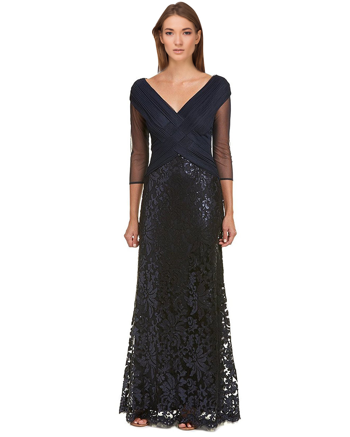 Tadashi Shoji Petite Navy Sequined Woven 3/4 Sleeve Evening Gown ...