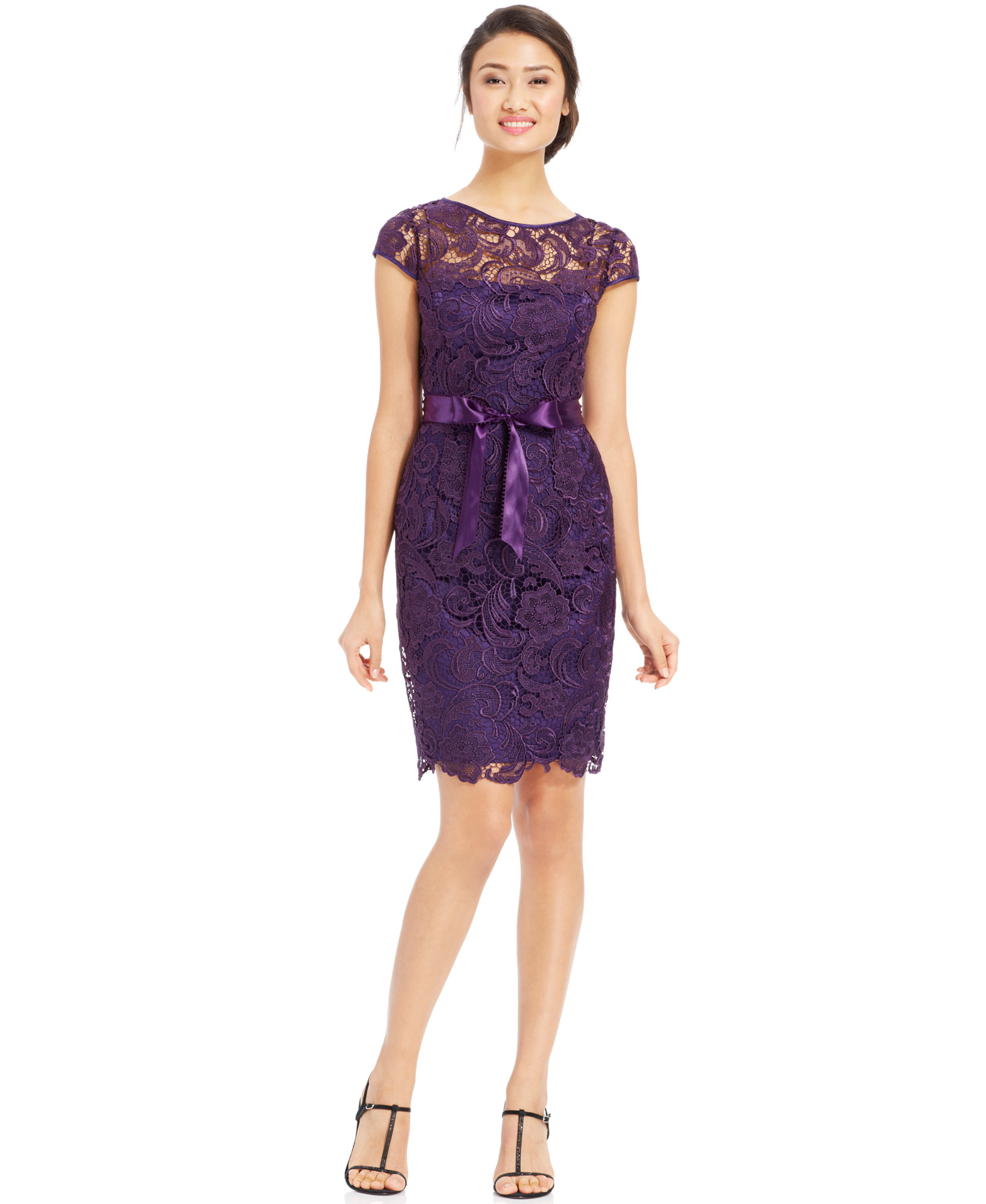 9a86eae9 ADRIANNA PAPELL AMETHYST Cap-Sleeve Illusion Lace Sheath Dress 6 ...