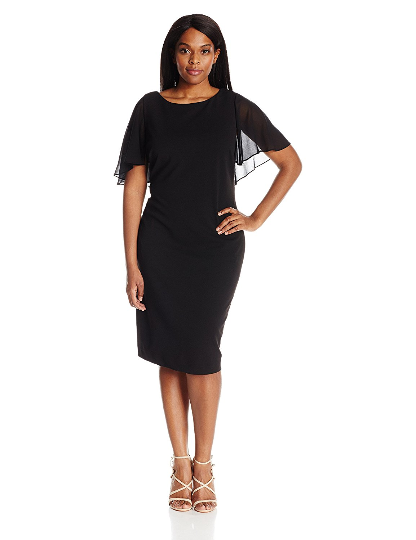 Plus size black chiffon cocktail dress