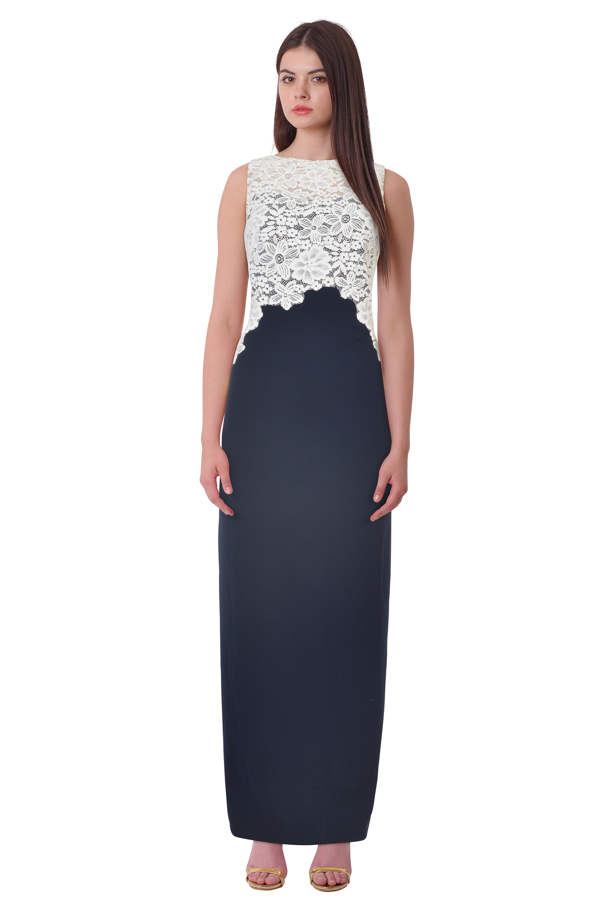 Lauren Ralph Lauren Lace Bodice Crepe Evening Gown Dress Lighthouse ...