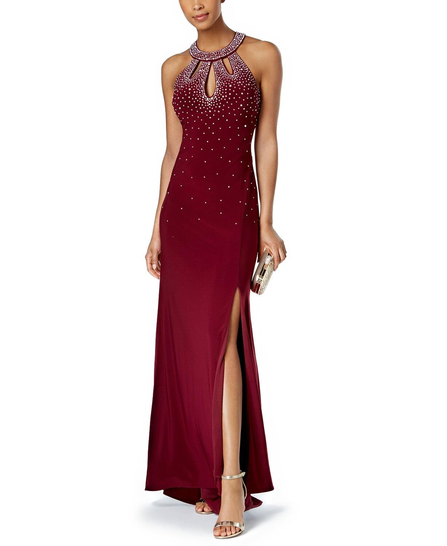 Nightway Embellished Halter Evening Gown Dress Merlot 10 ...