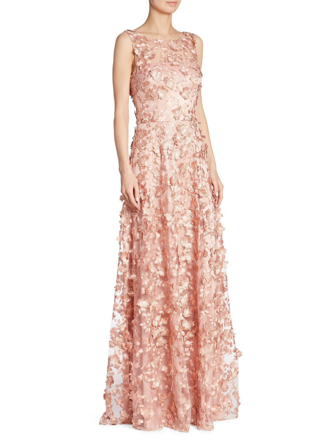 David Meister Pink Sleeveless 3d Floral Tulle Evening Gown Dress 16 ...
